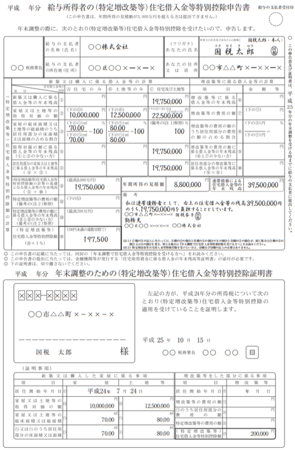 住宅借入金等特別控除申告書イメージ(編集部にて作成)