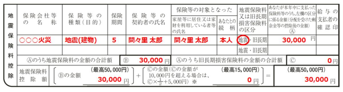 地震保険料控除の書き方・記入例(編集部にて作成)