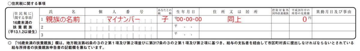 扶養控除申告書の書き方・記入例6(編集部にて作成)