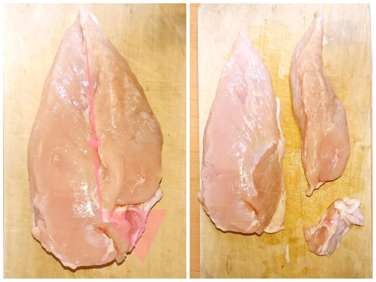 鶏むね肉カット画像