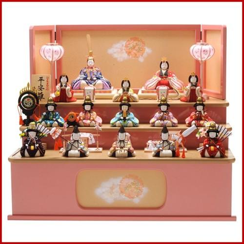 雛人形 一秀 ひな人形 雛 木目込人形飾り 三段飾り 十五人飾り 木村一秀作 平安雛 176号 木製三段セット