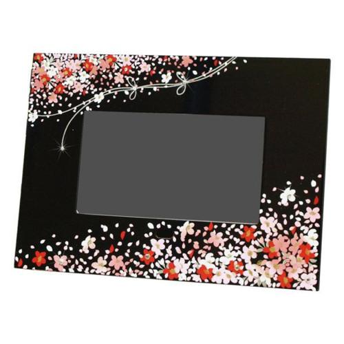 デジタルフォトフレーム蒔絵 花束(黒)