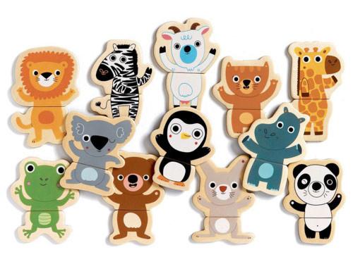 DJECO ジェコ クク ジャングル〜フランス・DJECOの12種類の動物たちのマグネットセット