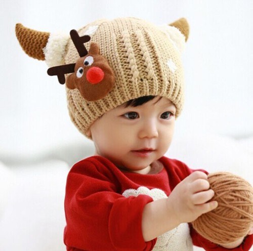 ベビーニット帽・トナカイ&雪モチーフ