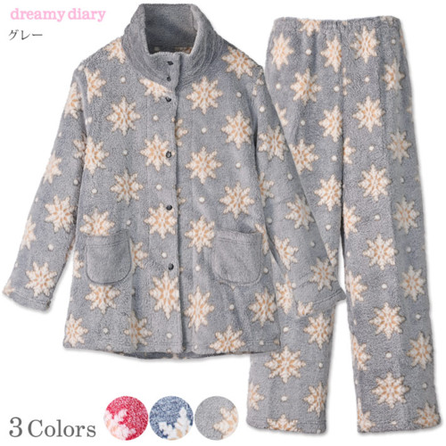 ふわふわフリース 雪の結晶柄 レディースパジャマ