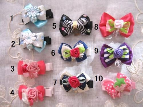 【LOVE*FLOWER】ハンドメイド 愛いデザインのヘアクリップ。バラ、パール、いちご、王冠デザイン。【ネコポス対応】