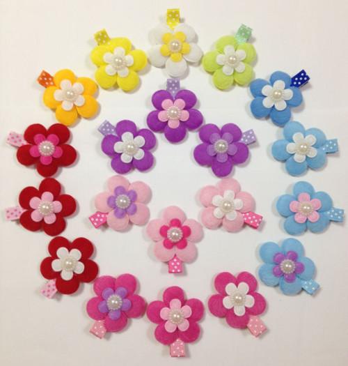 【Yumeiro】ハンドメイド お花畑みたいなパール付きベビーヘアクリップ【ネコポス対応】