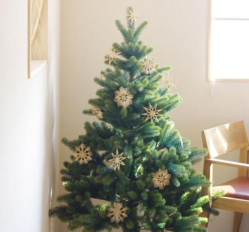 金の星・手編みオーナメント付きクリスマスツリー 150cm
