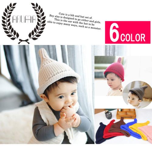キッズ・ベビー・赤ちゃんトンガリニット帽子