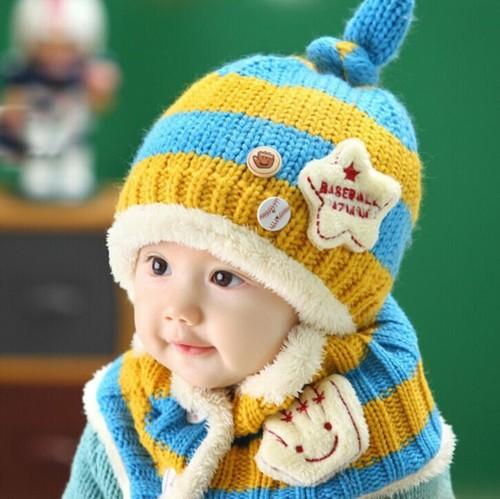 ニット帽+マフラー・ボタン付きネックウォーマー