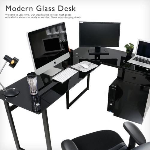 ガラスデスク L字型デスク オフィスデスク