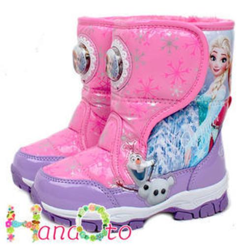 アナと雪の女王 ●ピンクxラベンダー マジックテープ式防寒ファーブーツ