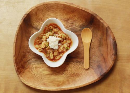 魚のトマトパスタ カッテージチーズのせ