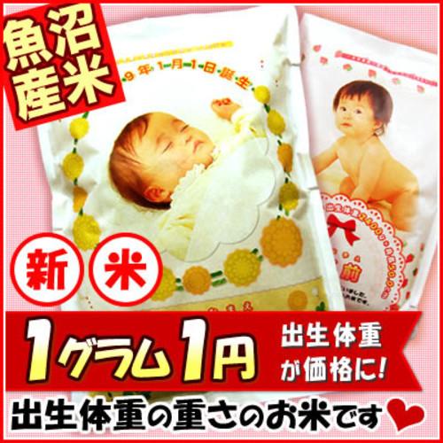 出産内祝いの名入れギフト  魚沼産コシヒカリ 抱っこできる赤ちゃんプリント 米 出生体重米 内祝い