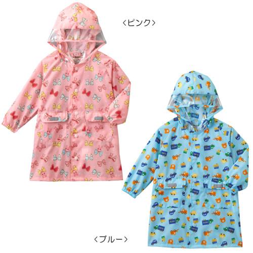 【ホットビスケッツ】働く車&リボン☆レインコート〈SS-L(80cm-120cm)〉