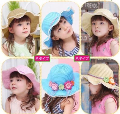 女の子夏帽子☆子供用麦わら帽子