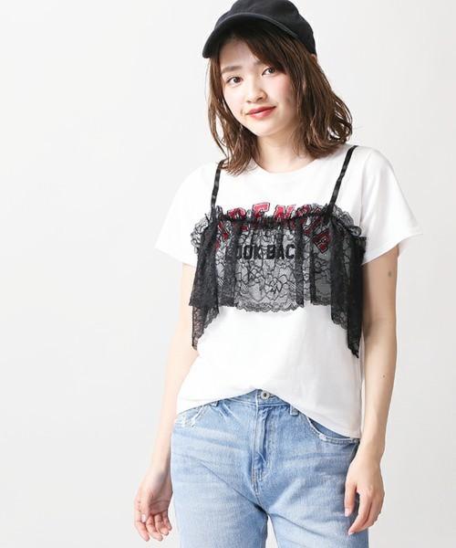 WEGO(ウィゴー):レースキャミロゴTシャツ