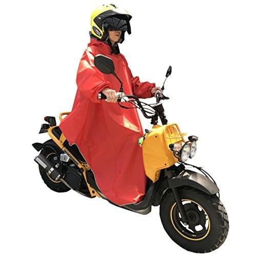 Nedved レインポンチョ 長袖付き 足元ロング丈 バイク 原付 スクーター 自転車 メンズ レディース フリーサイズ レッド
