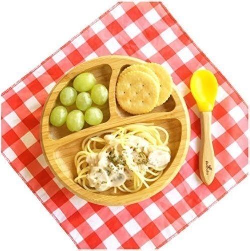 アヴァンシー テーブルに固定できる 吸盤付き 竹食器 プレート スプーン付き