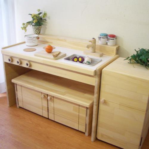 ままごとキッチン 冷蔵庫セット  収納ベンチ 冷蔵庫付き