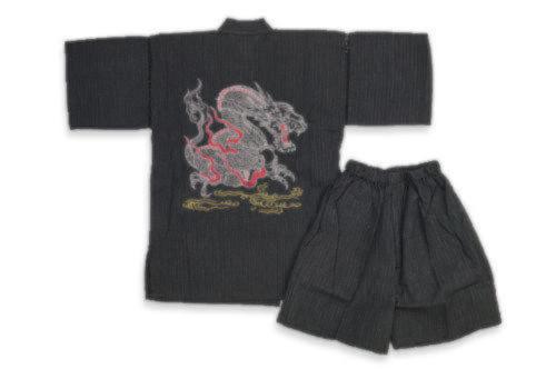 キッズ子供-甚平しじら織り 龍柄刺繍入り