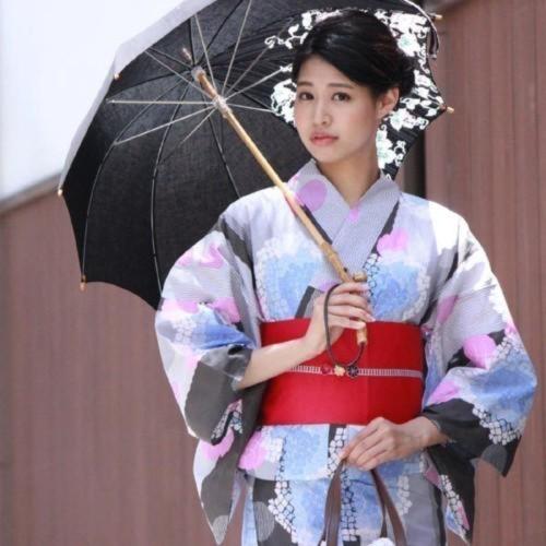 きもの京小町「グレーストライプ地紫陽花」