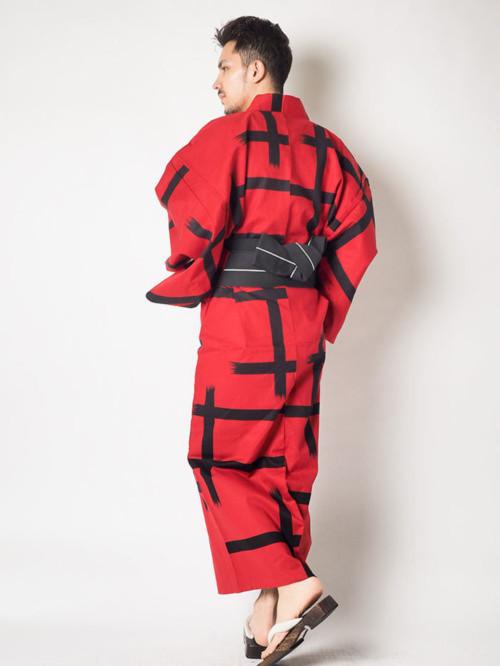高級綿麻大格子[赤×黒]