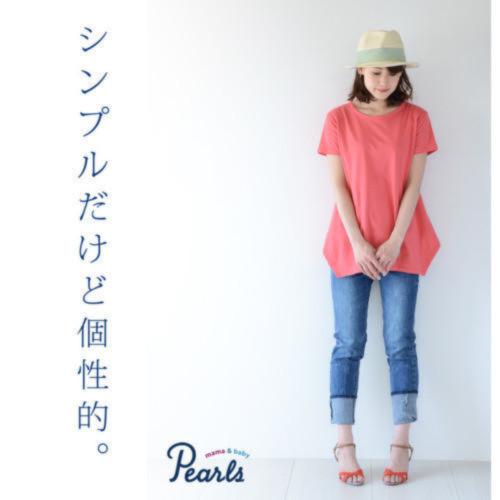 変形ドレープヘムデザインの授乳口つきTシャツ