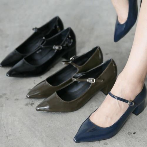 フロントストラップ チャンキー パンプス ポインテッドトゥ レディース ミドルヒール ビジネス OL 靴 婦人靴