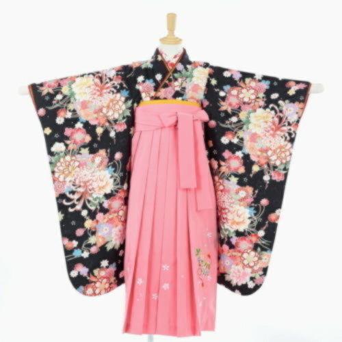 袴フルセット(黒×ピンク色 まり柄)