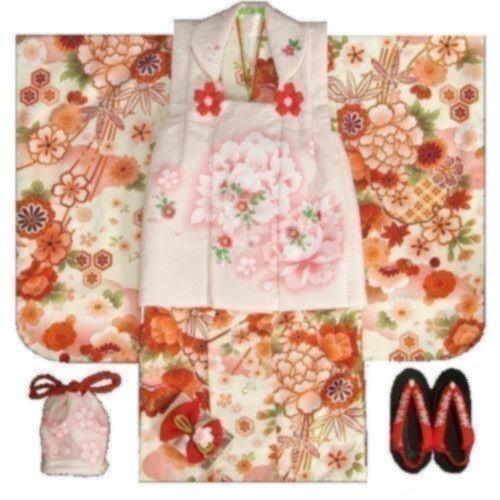 女の子被布フルセット(着物オフホワイト×被布淡いピンク)