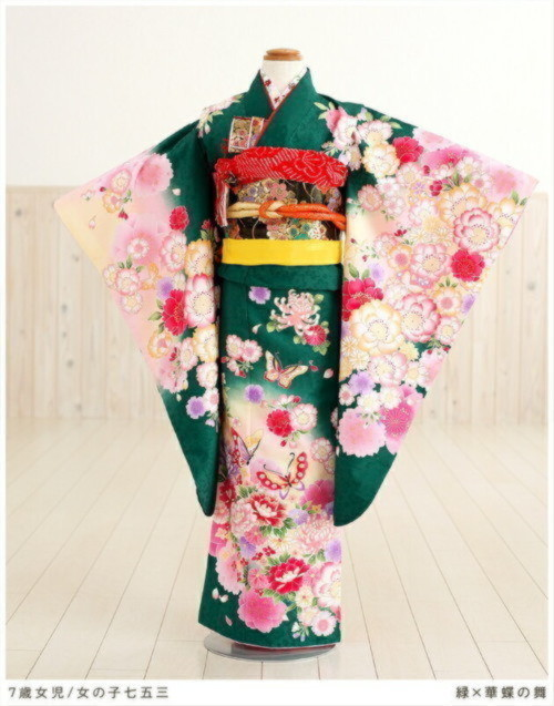 7歳 女の子 七五三フルセット(緑×華蝶の舞)