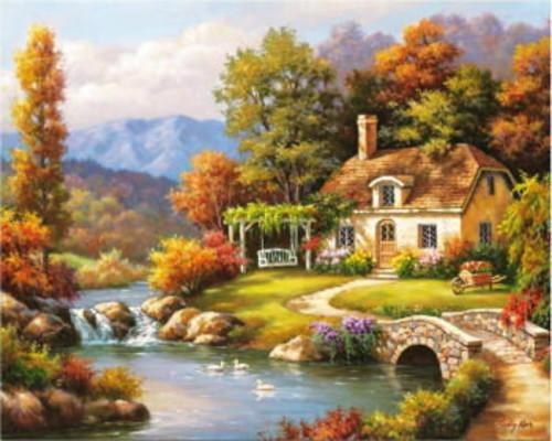 川と小さな家【油絵セット】