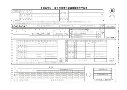 給与所得者の配偶者控除等申告書イメージ(編集部にて作成)